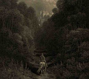 Approaching the Grail Castle (Gustave Doré, illustrator, <em>Idylls of the King</em>, engraving, England, 1877. Public domain)