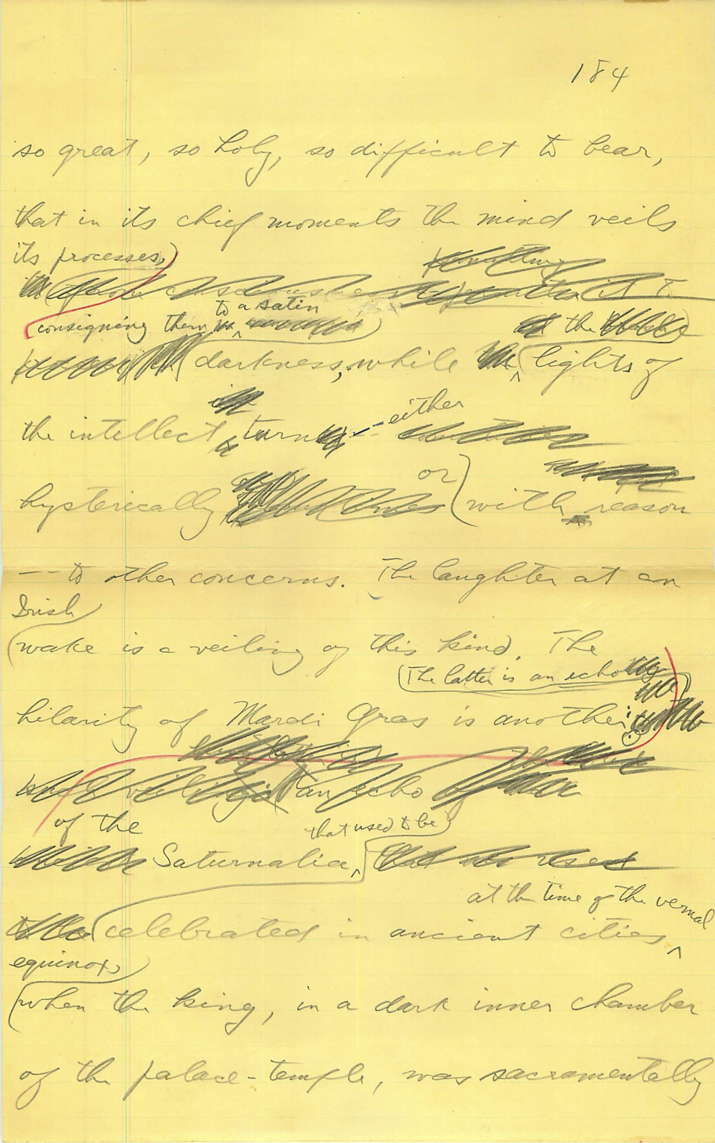 Handwritten fragment from a piece of Joseph Campbell's fiction (Copyright © 2018 Joseph Campbell Foundation)