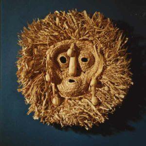 """Cornhusk mask of the Seneca (Iroquois) """"Bushyheads"""" or Husk Face Society."""