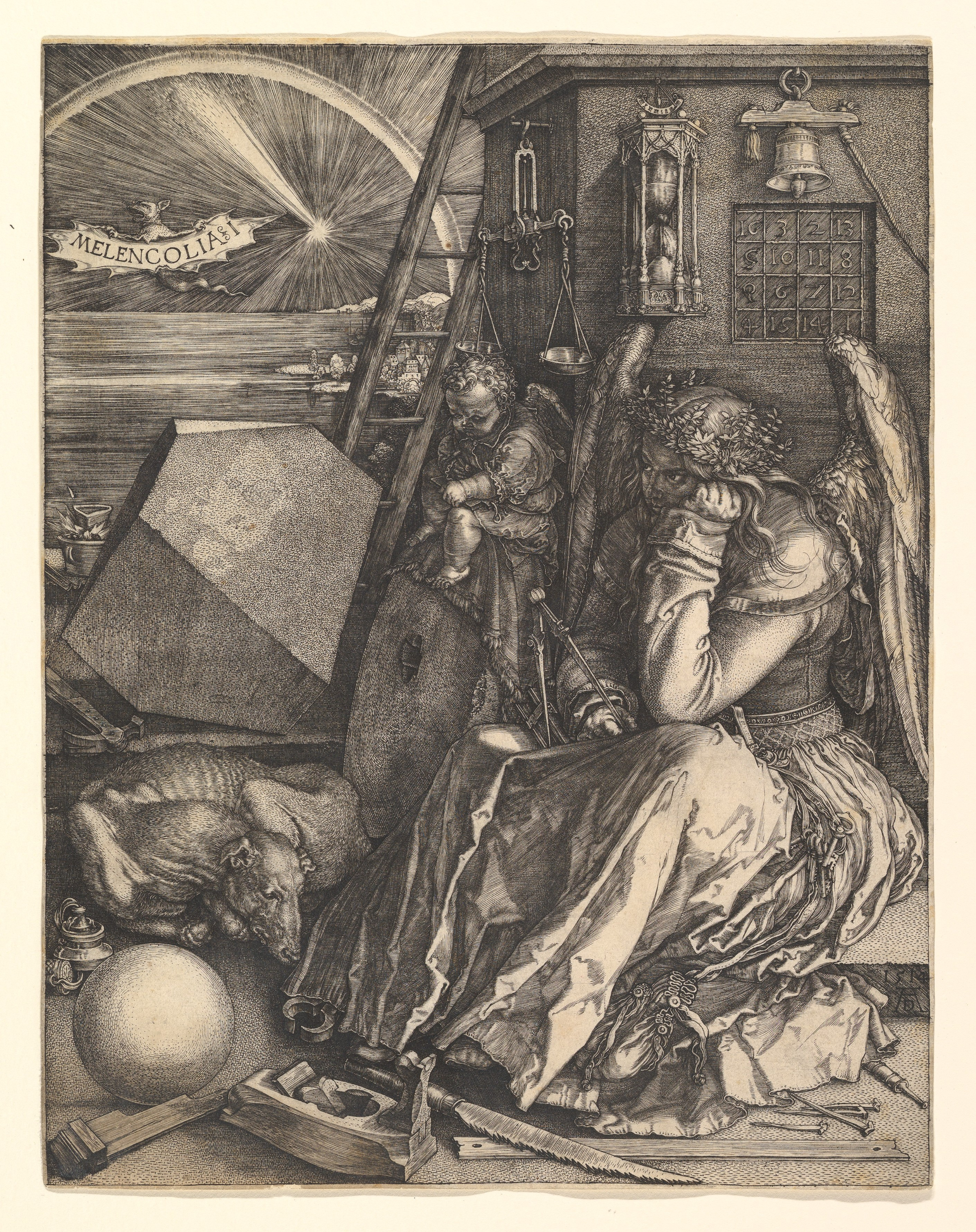 Melancolia by Albrecht Dürer (print, Germany, 1514. Image courtesy of the Metropolitan Museum of New York.)