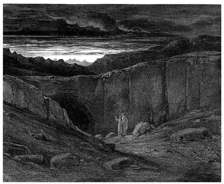 055b2cb7c0ca0 Crossing the threshold (Gustave Doré, illustration of Dante Alleghiegi's  Inferno, print, France, 1861)