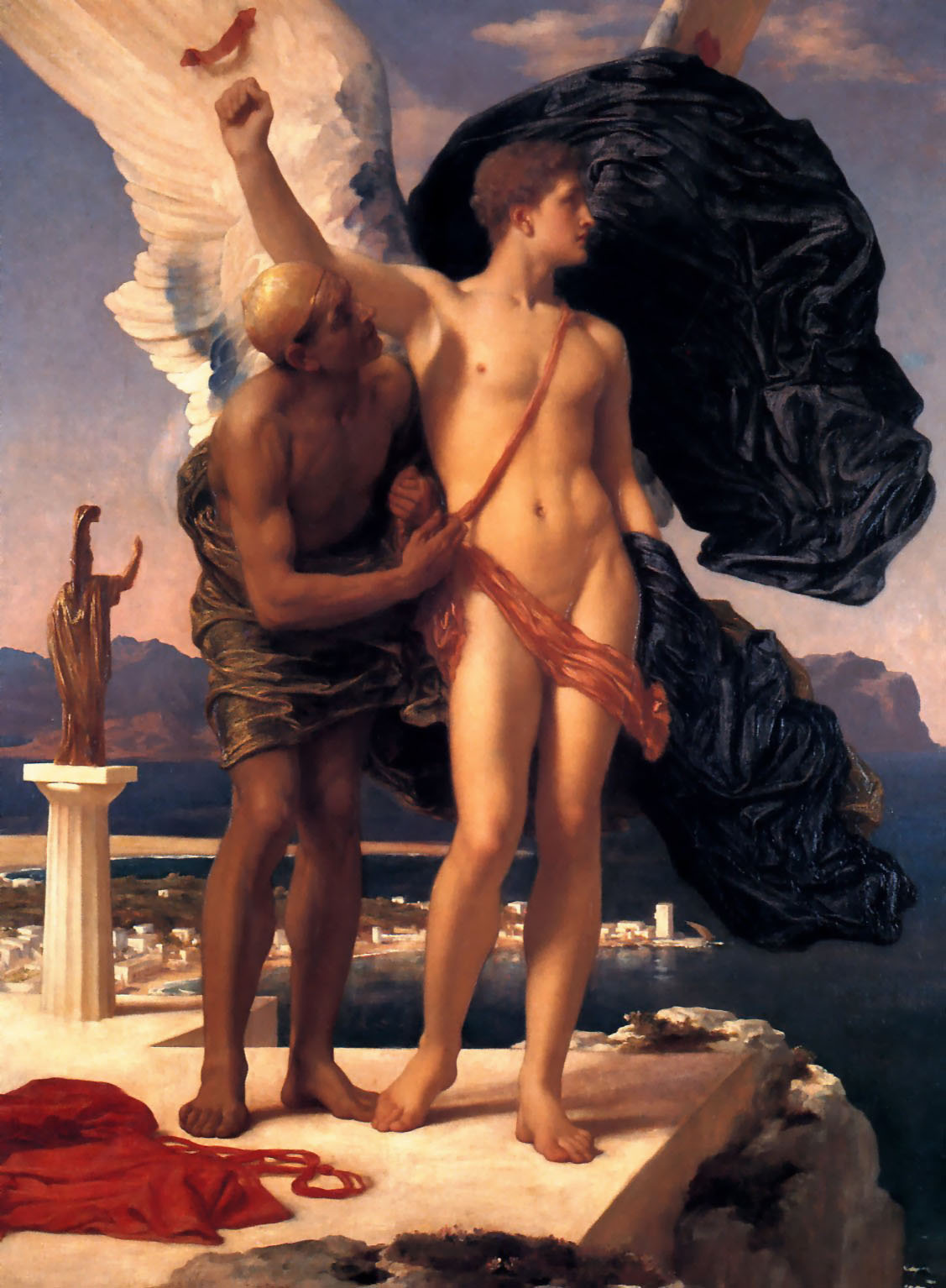 Icarus and Daedalus, Lord Frederic Leighton (oil on canvas, England, c. 1869)