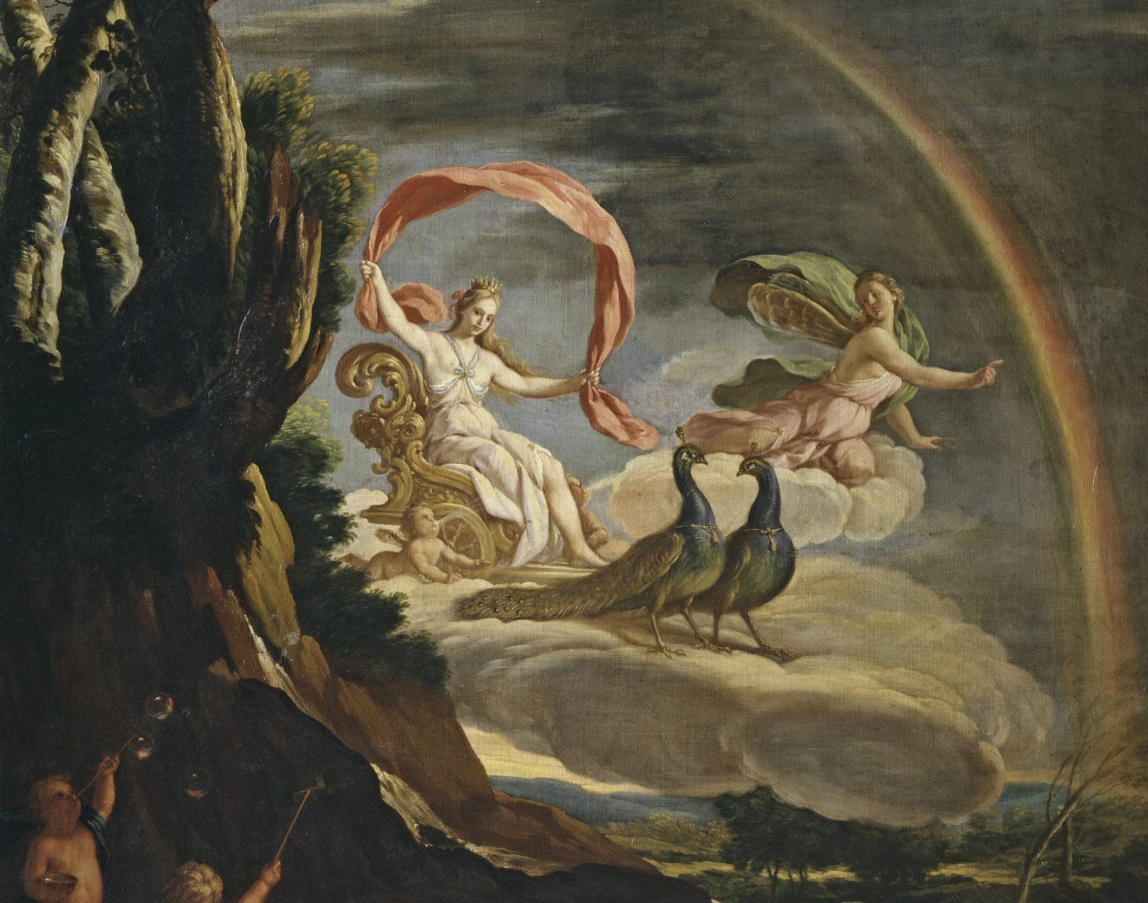Juno (with peacocks) and Iris (with rainbow) — Alegoría del Aire by Antonio Palomino (oil on canvas, Spain, c. 1700)